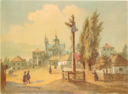 Почаївська лавра з заходу. 1846. Акварель