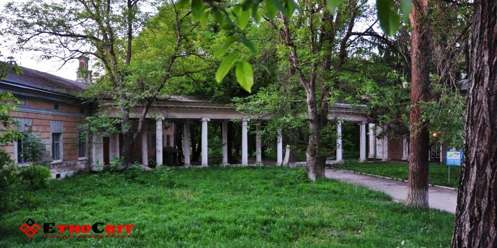 Колоннада дворца Бруницкого (ЦРБ) в Залищицком парка